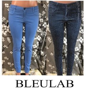 BLEULAB Reversible Wax Coated Skinny Jeans